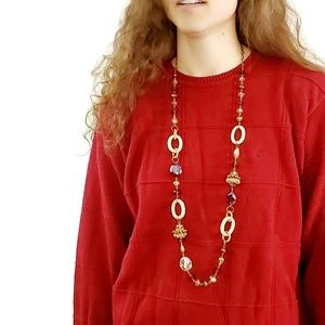 Jewelry - Long Retro 80s Beaded Gold Tone Crystal Necklace